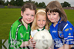 ON THE BALL: Enjoying the St. Senans GAA Club  VHI Cul Camp in Shanagolden on Thursday last were Mary O'Connor, Michelle Flynn and Siadbh O'Neill.