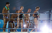 26 JUL 2012 - LONDON, GBR - Tonia Couch (GBR) (right) of Great Britain and her team mate Sarah Barrow (GBR) (third from right) prepare to make a practice dive at the Aquatics Centre in the Olympic Park, Stratford, London, Great Britain ahead of the London 2012 Olympic Games 10m Synchronised Diving .(PHOTO (C) 2012 NIGEL FARROW)