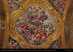 Ceiling Fresco detail 3rd vault Right Nave Religion Purity Chastity Prayer Fortitude Giovanni Battista Beinaschi 1678 San Carlo al Corso Rome