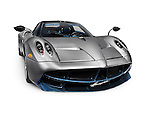 2016 Silver Pagani Huayra exotic Italian sports car supercar isolated on white background with clipping path Image © MaximImages, License at https://www.maximimages.com