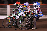 Heat 8 re-run: Stuart Robson (blue), Peter Ljung (red) and Justin Sedgmen (white) - Lakeside Hammers vs Swindon Robins, Elite League Speedway at the Arena Essex Raceway, Purfleet - 03/09/10 - MANDATORY CREDIT: Rob Newell/TGSPHOTO - Self billing applies where appropriate - 0845 094 6026 - contact@tgsphoto.co.uk - NO UNPAID USE.
