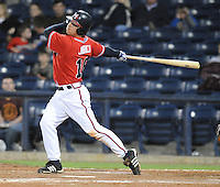 12 April 2008: Outfielder Mark Jurich (16) of the Mississippi Braves, Class AA affiliate of the Atlanta Braves, in a game against the Mobile BayBears at Trustmark Park in Pearl, Miss. Photo by:  Tom Priddy/Four Seam Images