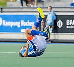 UTRECHT - Bjorn Kellerman (Kampong) hard onderuit   tijdens de hoofdklasse competitiewedstrijd mannen, Kampong-Bloemendaal (2-2) .   COPYRIGHT KOEN SUYK