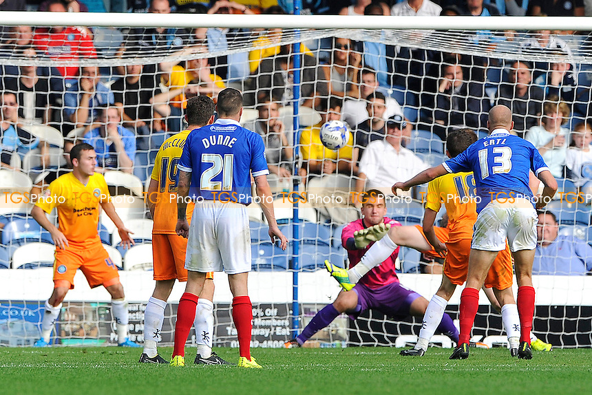 Jonannes Ertl of Portsmouth right watches his shot hit the net for the equaliser - Portsmouth vs Wycombe Wanderers - Sky Bet League Two Football at Fratton Park, Portsmouth, Hampshire - 20/09/14 - MANDATORY CREDIT: Denis Murphy/TGSPHOTO - Self billing applies where appropriate - contact@tgsphoto.co.uk - NO UNPAID USE