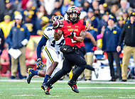 College Park, MD - NOV 11, 2017: Maryland Terrapins running back Lorenzo Harrison III (2) catches a pass against Michigan Wolverines defensive back Josh Metellus (14) during game between Maryland and Michigan at Capital One Field at Maryland Stadium in College Park, MD. (Photo by Phil Peters/Media Images International)
