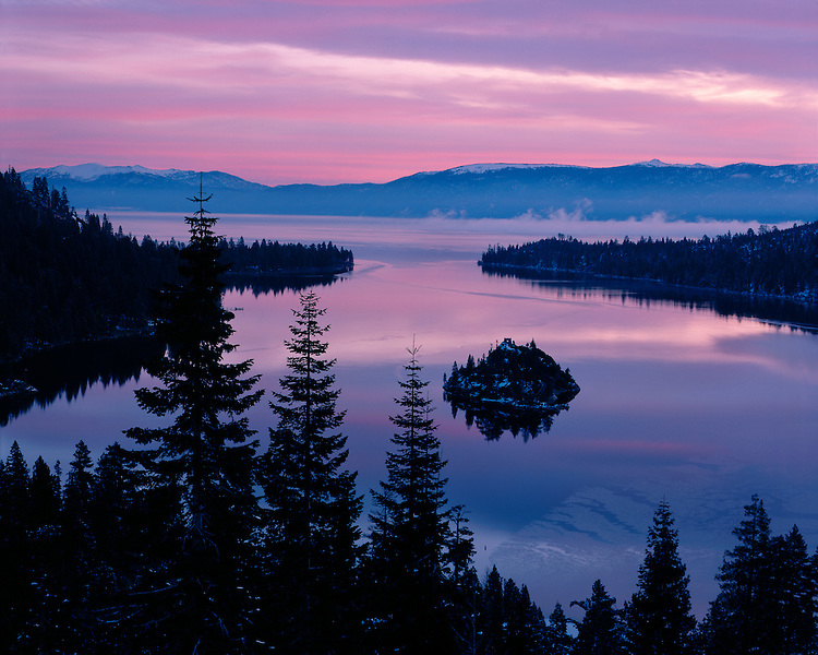 Winter sunrise color over Lake Tahoe; Lake Tahoe, CA