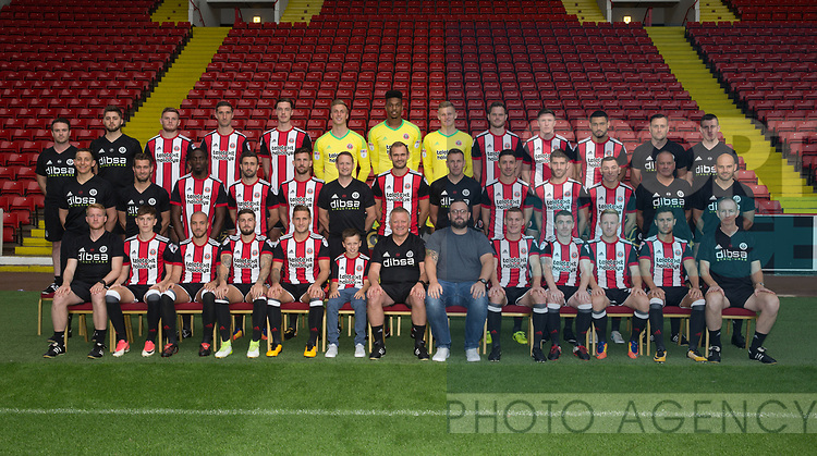 Sheffield Utd team group with Teletext competition winners during the 2017/18 Photocall at Bramall Lane Stadium, Sheffield. Picture date 7th September 2017. Picture credit should read: Sportimage