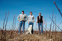From left, Myles Frische (cq), Clark Frische (cq), and Terry Frische (cq),    with their dog Samantha (cq) at their cotton farm in Dumas, Texas, Tuesday, February 15, 2011. With the high price of cotton in recent years, many farmers in the area have switched to start farming cotton...Photo by Matt Nager