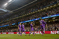 Cristiano Ronaldo of Real Madrid celebrates with teammates after scoring his side's first goal during the UEFA Champions League Final match between Juventus and Real Madrid at the Principality Stadium on June 3rd 2017 in Cardiff, Wales. <br /> <br /> Foto Daniel Chesterton / Panoramic / Insidefoto