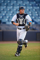 Tampa Yankees catcher Wes Wilson (27) during a game against the Daytona Tortugas on August 5, 2016 at George M. Steinbrenner Field in Tampa, Florida.  Tampa defeated Daytona 7-1.  (Mike Janes/Four Seam Images)