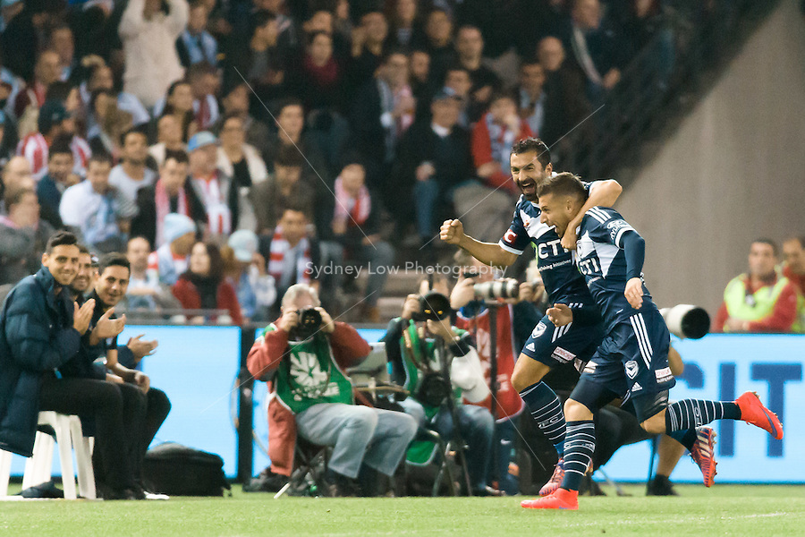 Kosta Barbarouses of the Victory celebrates his goal with Fahid Ben Khalfallah in the semi final match between Melbourne Victory and Melbourne City in the Australian Hyundai A-League 2015 season at Etihad Stadium, Melbourne, Australia.<br /> This photo is not for sale. Contact zumapress.com for editorial licensing.