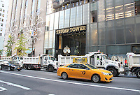 NEW YORK, NY - NOVEMBER 8: Trump Tower  walled off/barricaded using sanitation trucks and heavy police presence is closed off to pedestrians on the morning of the U.S. presidential election  in New York, New York on November 8, 2016.  Photo Credit: Rainmaker Photo/MediaPunch