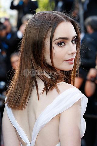 """Lily Collins at the """"Okja"""" premiere during the 70th Cannes Film Festival at the Palais des Festivals on May 19, 2017 in Cannes, France. (c) John Rasimus /MediaPunch ***FRANCE, SWEDEN, NORWAY, DENARK, FINLAND, USA, CZECH REPUBLIC, SOUTH AMERICA ONLY***"""