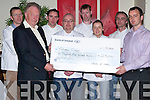 CHARITY PRESENTATION: Tom Murphy of Christi Volunteer Missionary Programme being presented with a cheque for EUR2,500 on Thursday morning by Tralee IT from there fund raiser, A Taste Of Kerry, Gala Charity Dinner Night. L-r: Tom Murphy, T.J. O'Connor, Simon Regan, Dennis Dennehy, Noel Enright, Patricia Teehan, David Norris and Fergus Dunne.   Copyright Kerry's Eye 2008
