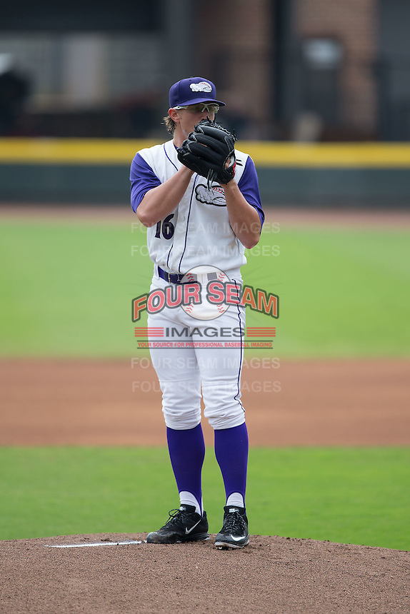 Winston-Salem Dash starting pitcher Carson Fulmer (16) looks to his catcher for the sign against the Wilmington Blue Rocks at BB&T Ballpark on July 29, 2015 in Winston-Salem, North Carolina.  The Dash defeated the Blue Rocks 5-4 in game one of a double-header.  (Brian Westerholt/Four Seam Images)