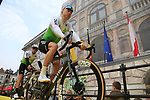 Team Dimension Data at the team presentation in Antwerp before the start of the 2019 Ronde Van Vlaanderen 270km from Antwerp to Oudenaarde, Belgium. 7th April 2019.<br /> Picture: Eoin Clarke | Cyclefile<br /> <br /> All photos usage must carry mandatory copyright credit (&copy; Cyclefile | Eoin Clarke)
