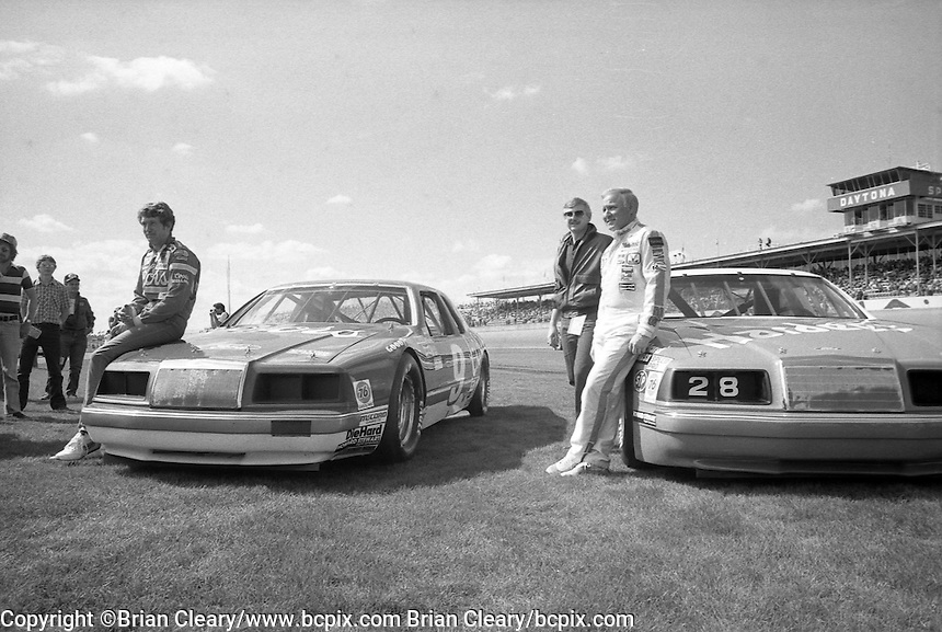 Bill Elliott Cale Yarborough front row photo Daytona 500 at Daytona International Speedway in Daytona Beach, FL in February 1985. (Photo by Brian Cleary/www.bcpix.com) Daytona 500, Daytona International Speedway, Daytona Beach, FL, February 1985. (Photo by Brian Cleary/www.bcpix.com)