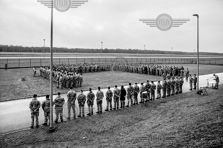 A medals ceremony at the end of ARRC (Allied Rapid Reaction Corps) exercises.