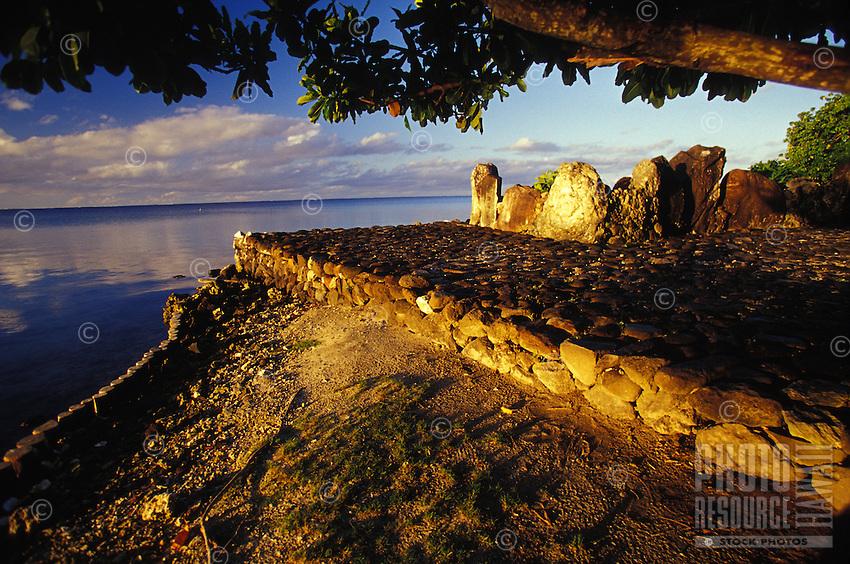 Taputapuatea 'Marae' temple at sunset, Raiatea, Society Isles, French Polynesia