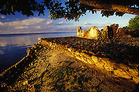 Taputapuatea 'Marae' temple at sunset, Raiatea, Society Isles, French Polynesia