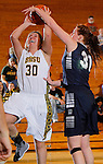 SPEARFISH, SD - DECEMBER 15, 2013:  Cassidy Kotelman #30 of Black Hills State gets fouled by Courtney Martin #31 during their Rocky Mountain Athletic Conference game Sunday at the Donald E. Young Center in Spearfish, S.D.  (Photo by Dick Carlson/Inertia)