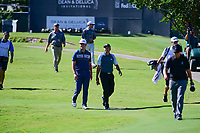 Jon Rahm (ESP) and Sergio Garcia (ESP) make their way down 16 during the round 1 of the Dean &amp; Deluca Invitational, at The Colonial, Ft. Worth, Texas, USA. 5/25/2017.<br /> Picture: Golffile | Ken Murray<br /> <br /> <br /> All photo usage must carry mandatory copyright credit (&copy; Golffile | Ken Murray)