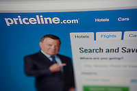 The Priceline travel website is seen on Friday, February 20, 2015.  The Priceline Group reported fourth quarter earnings beating analysts' expectations, $452 million up from last years $378 million. The company also announced plans to buy Rocketmiles, a hotel reservation site, for $20 million. (© Richard B. Levine)