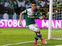 PALMIRA -COLOMBIA-11-06-2017. Nicolas Benedetti jugador del Deportivo Cali celebra después de anotar un gol a América de Cali durante partido por la semifinal de vuelta de la Liga Aguila I 2017 jugado en el estadio Palmaseca de la ciudad de Palmira. / Nicolas Benedetti player of Deportivo Cali celebrates after scoring a goal to Envigado FC during match for the second leg match semifinal of the Aguila League I 2017 played at Palmaseca stadium in Palmira city.  Photo: VizzorImage/ Nelson Rios /Cont