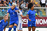Elena Linari of Italy jumps for the ball with Milena Nikolic of Bosnia and Herzegovina<br /> Palermo 08-10-2019 Stadio Renzo Barbera <br /> UEFA Women's European Championship 2021 qualifier group B match between Italia and Bosnia-Herzegovina.<br /> Photo Carmelo Imbesi / Insidefoto