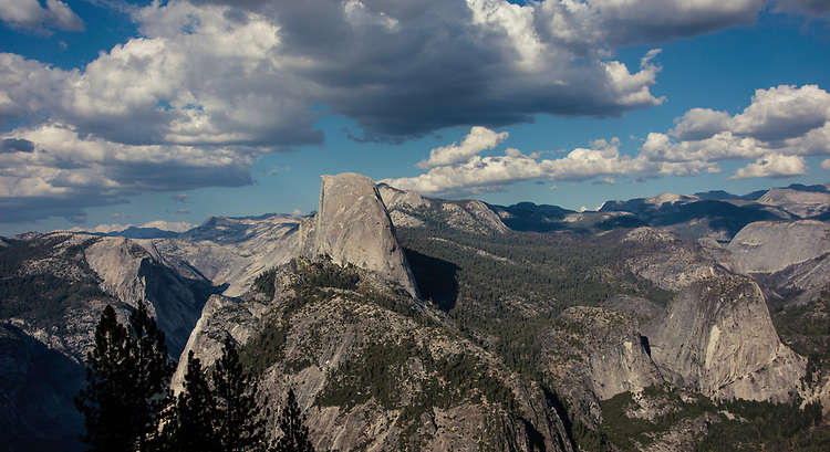 September 2014 / Yosemite National Park landscapes / Taken from the top of Centinal Dome  showing Half Dome at center and looking down into Yosemite Valley / Photo by Bob Laramie