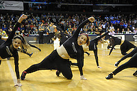 Dancers perform during the national basketball league match between Wellington Saints and Mountain Airs at TSB Bank Arena, Wellington, New Zealand on Friday, 6 May 2016. Photo: Dave Lintott / lintottphoto.co.nz
