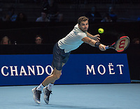 Grigor Dimitrov (BUL) in action during the final of the ATP Finals.  Dimitrov beat David Goffin (BEL) 2 sets to 3.  Nitto ATP Finals Tennis Championships, O2 Arena London, England,19th November 2017.