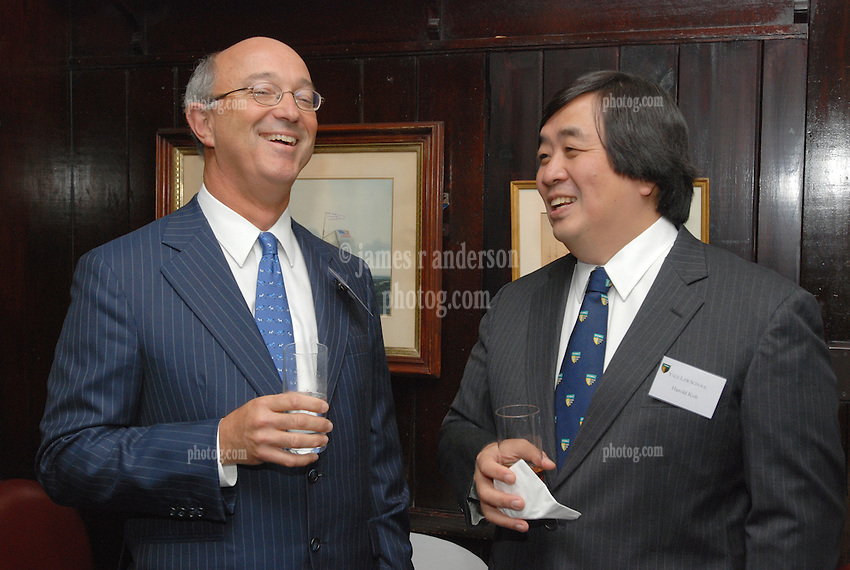 """Harold Koh on right at the Maurice R. """"Hank"""" Greenberg Reception, 21 Club NYC, 18 Sept 2007, Honoring the endowment of the David Boies Professorship of Law at Yale Law School"""
