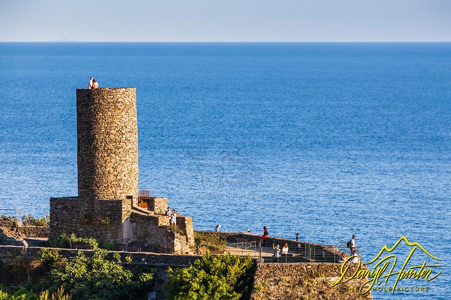 Torre del Castello Doriathe historical defensive tower in Vernazza city, Cinque terre national park, Liguria, Italy.