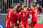 17.03.2019, Allianz Arena, Muenchen, GER, 1.FBL,  FC Bayern Muenchen vs. Mainz 05, DFL regulations prohibit any use of photographs as image sequences and/or quasi-video, im Bild Jubel nach dem Tor zum 1-0 durch Robert Lewandowski (FCB #9) Thiago (FCB #6) Niklas Suele (FCB #4) James Rodriguez (FCB #11) David Alaba (FCB #27) Thomas M&uuml;ller (FCB #25) <br /> <br />  Foto &copy; nordphoto / Straubmeier
