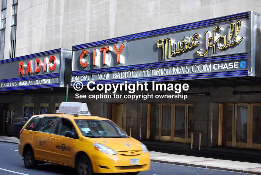 Signage, Radio City Music Hall, New York, USA, 201110215347..Copyright Image from Victor Patterson, 54 Dorchester Park, Belfast, United Kingdom, UK...For my Terms and Conditions of Use go to http://www.victorpatterson.com/Victor_Patterson/Terms_%26_Conditions.html