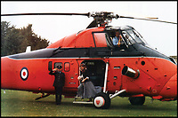 BNPS.co.uk (01202 558833)Pic: QueensFlightArchivesDuchess of York leaving a Queens Flight Wessex in the mid 1980's.<br /> <br /> A new book gives an intimate look behind the scenes of the Royal Flight and also the flying Royals.<br /> <br /> Starting in 1917 the book charts in pictures the 100 year evolution of first the King's Flight and then later the Queen's Flight as well as the Royal families passion for aviation.<br /> <br /> Author Keith Wilson has had unprecedented access to the Queen's Flight Archives to provide a fascinating insight into both Royal and aeronautical history.