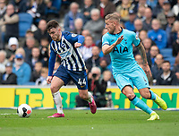 Brighton & Hove Albion's Aaron Connolly (left) under pressure from Tottenham Hotspur's Toby Alderweireld (right) <br /> <br /> Photographer David Horton/CameraSport<br /> <br /> The Premier League - Brighton and Hove Albion v Tottenham Hotspur - Saturday 5th October 2019 - The Amex Stadium - Brighton<br /> <br /> World Copyright © 2019 CameraSport. All rights reserved. 43 Linden Ave. Countesthorpe. Leicester. England. LE8 5PG - Tel: +44 (0) 116 277 4147 - admin@camerasport.com - www.camerasport.com