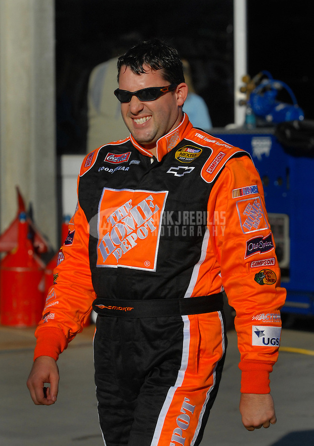 Oct 12, 2006; Concord, NC, USA; Nascar Nextel Cup driver Tony Stewart (20) during qualifying for the Bank of America 500 at Lowes Motor Speedway. Mandatory Credit: Mark J. Rebilas