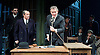 An Enemy of the People <br /> by Henrik Ibsen <br /> a version by Christopher Hampton <br /> at Chichester Festival Theatre, Chichester, West Sussex, Great Britain <br /> Press photocell <br /> 29th April 2016 <br /> <br /> Hugh Bonneville as Dr Tomas Stockmann <br /> <br /> William Gaminara as Peter Stockmann<br /> <br /> <br /> <br /> Photograph by Elliott Franks <br /> Image licensed to Elliott Franks Photography Services