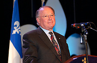 Montreal, Dec 2001<br /> <br /> Quebec Premier and leader of the Parti Quuebecois ;<br /> Bernard Landry <br /> speak at a rallye in favor of Quebec independance, Dec 2nd 2001 in Montreal, CANADA<br /> The option of Quebec's  independance has already been rejected in 3 different referendums