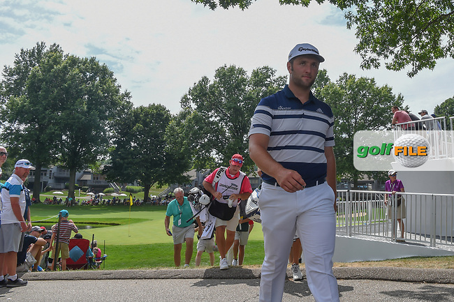 Jon Rahm (ESP) heads to 17 during 1st round of the World Golf Championships - Bridgestone Invitational, at the Firestone Country Club, Akron, Ohio. 8/2/2018.<br /> Picture: Golffile | Ken Murray<br /> <br /> <br /> All photo usage must carry mandatory copyright credit (© Golffile | Ken Murray)