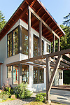 A contemporary island home on a beautiful summer day. This image is available through an alternate architectural stock image agency, Collinstock located here: http://www.collinstock.com