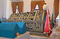 Tomb of Orhan Gazi, 1281-1362, bey or chieftain of the Ottoman Empire, Bursa, Turkey. The tomb itself is a modern structure, the original having been destroyed by an earthquake in 1855. He is buried here with his wife and children, including Abdullah, the son of Cem Sultan; Sehzade Korkut; Nilufer Hatum, the wife of Orhan Gazi; his son Kasim Celebi, his daughter Fatma, Musa Celebi and Emir Suleyman, the sons of Yildirim Bayezid; and 4 unidentified sarcophagi. Picture by Manuel Cohen
