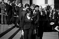 """Maria Elisabetta Alberti Casellati (President of the Senate) followed by Giuseppe Conte (Italian Prime Minister), Roberto Fico (President of the Chamber of Deputies).<br /> <br /> Rome, 02/06/2019. Today, Italy celebrated the annual """"Festa Della Repubblica"""" (Republic Day, 1.). The 73rd Anniversary of the Italian Republic (*) was marked with the """"Raising the Flag Ceremony"""" and the tribute to the Sacello del Milite Ignoto (Unknown Soldier) at the Altare della Patria """"Vittoriano"""" (2.) by the President of the Italian Republic Sergio Mattarella, followed by the traditional army, veterans and civilians parade along Via Dei Fori Imperiali. This year, the President of the Republic was accompanied by the Defence Minister Elisabetta Trenta, the Italian Prime Minister Giuseppe Conte, the Presidents of the two Chambers of the Parliament, Roberto Fico and Maria Elisabetta Alberti Casellati, several members of the Italian Government, political leaders, senior officers of the Armed Forces and representatives of the Civilian Organizations. At the end of the events the Frecce Tricolori, the Italian Aerobatic Team, coloured the sky over Rome with the Tricolore (Tricolour: Green, White, Red) of the Italian Flag. The theme for this year's event was inclusiveness. <br /> <br /> Footnotes and Links:<br /> (*) The Referendum was held on 2 June 1946 and it marked the decision made by the Italian people to adopt the Republic as the new institutional form for the Country. <br /> 1. http://bit.do/eT8By (ITA) & http://bit.do/eT8Bv (ENG) at https://www.difesa.it/<br /> 2. http://bit.do/eT8BG (Wikipedia)"""