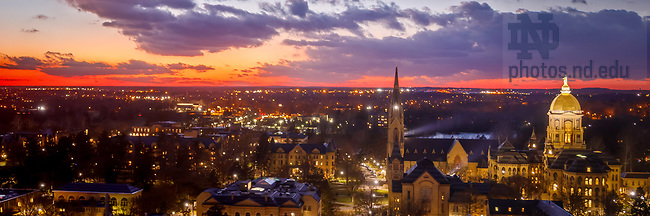 December 5, 2017;  Campus at Sunset (Photo by Peter Ringenberg/University of Notre Dame)