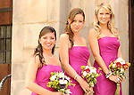 Bridesmaids on the church steps in Hudson, New York.