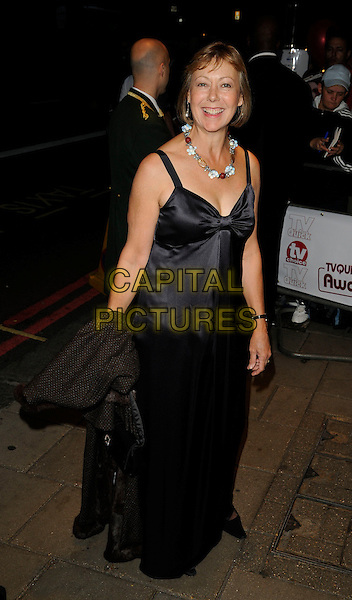 JENNY AGUTTER .The TV Quick & TV Choice Awards, Dorchester Hotel, London, England..September 7th, 2009.full length black dress silk satin long maxi necklace .CAP/CAN.©Can Nguyen/Capital Pictures.