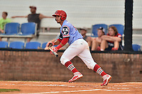 Johnson City Cardinals third baseman Yariel Gonzales (33) swings at a pitch during a game against the Danville Braves at Howard Johnson Field at Cardinal Park on July 26, 2016 in Johnson City, Tennessee. The Braves defeated the Cardinals 10-8. (Tony Farlow/Four Seam Images)