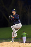 Cedar Rapids Kernels relief pitcher Derek Molina (44) during a Midwest League game against the Kane County Cougars at Northwestern Medicine Field on April 28, 2019 in Geneva, Illinois. Cedar Rapids defeated Kane County 3-2 in game two of a doubleheader. (Zachary Lucy/Four Seam Images)